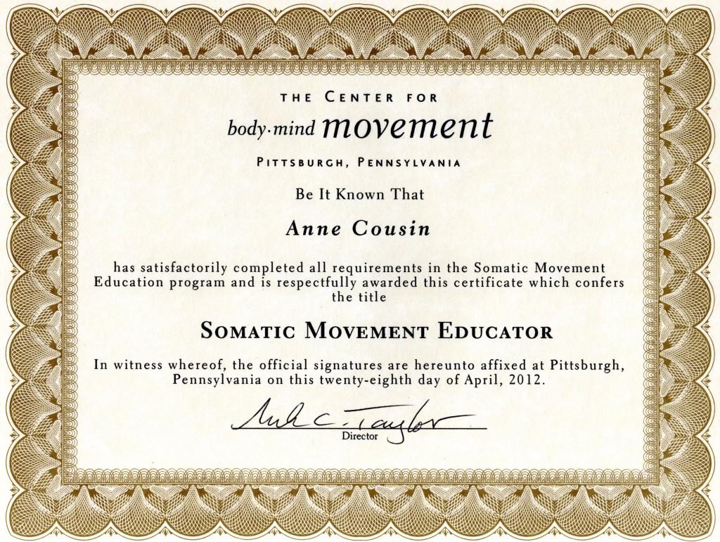 Certificate SME Anne Cousin